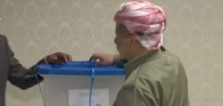 برزاني يدلي بصوته في استفتاء اقليم كردستان عن العراق