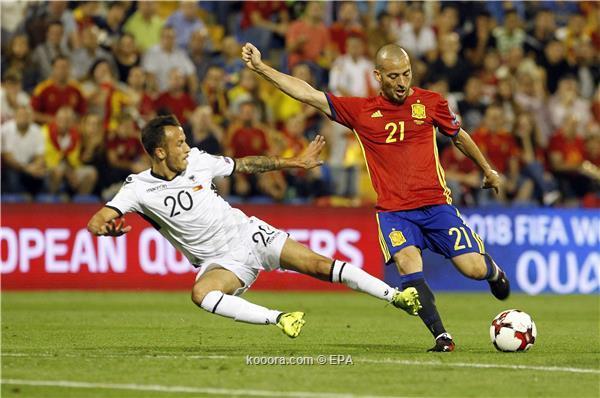 إسبانيا تعبر لمونديال روسيا بثلاثية في ألبانيا